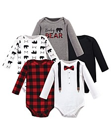 Baby Boy Long Sleeve Bodysuits, 5 Pack