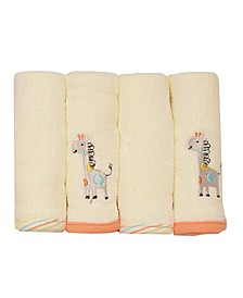 Neutral Giraffe 4 Pack Washcloth Set