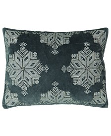 "Christmas Collection Beads Snowflake Embroidery Lumbar Pillow, 13"" X 18"""
