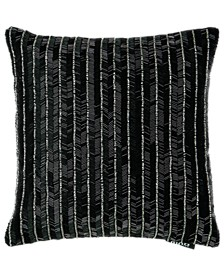 """Black Onyx Collection Allover Beads Onyx Embroidery Pillow, 14"""" X 14"""""""