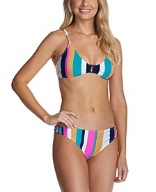 Juniors' Striped Bikini Top & Bottoms, Created for Macy's