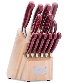 Argentum Red 14-Pc. Cutlery Block Set