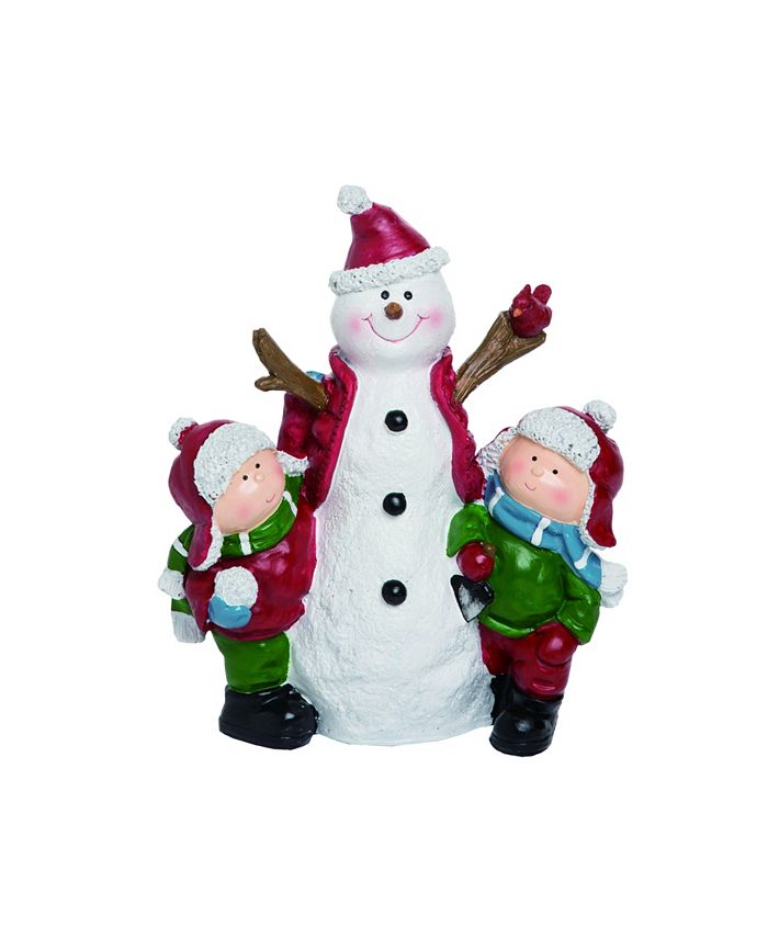 Trans Pac - Resin White Christmas Snowman and Kids Figurine