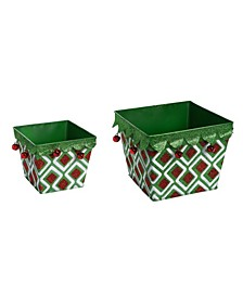 Metal  Red Christmas Glitter Pattern Containers - Set of 2