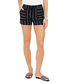 Plus Size Navy-Stripe Linen Shorts, Created for Macy's