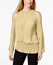 Alfani Smocked Cold-Shoulder Top, Created for Macy's