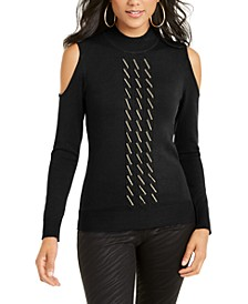 Cold-Shoulder Chain-Embellished Sweater, Created For Macy's