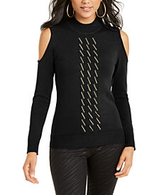 Thalia Sodi Cold-Shoulder Chain-Embellished Sweater, Created For Macy's