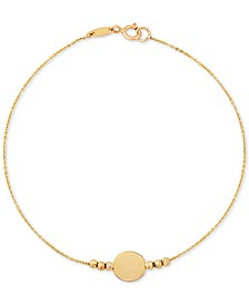 Beaded Disc Bracelet in 10k Gold