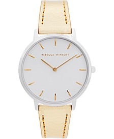 Women's Major Gold-Tone Metallic Leather Strap Watch 35mm