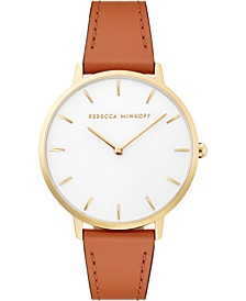 Women's Major Almond Leather Strap Watch 35mm