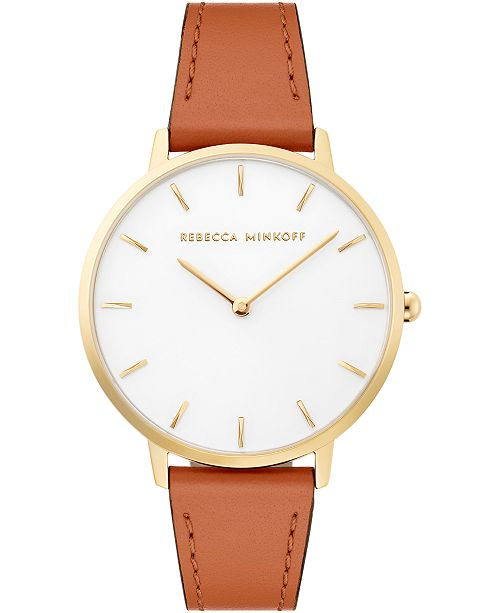 Rebecca Minkoff Women's Major Almond Leather Strap Watch 35mm