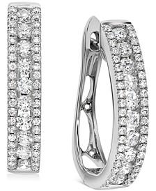 Diamond Oval Hoop Earrings (1 ct. t.w.) in 14k White Gold