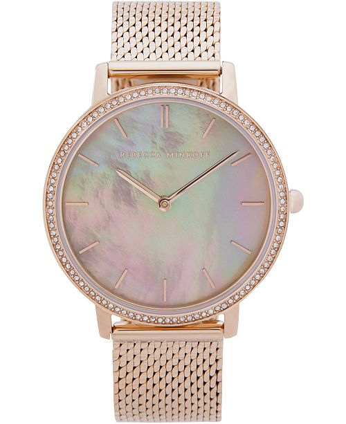 Rebecca Minkoff Women's Major Carnation Gold-Tone Stainless Steel Mesh Bracelet Watch 35mm