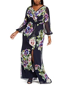Plus Size Floral Chiffon Gown