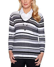 Petite Riverside Drive Texture Stripe Layered-Look Necklace Sweater