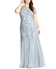 Plus Size Floral-Beaded Gown