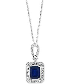 "EFFY® Sapphire (1-1/2 ct.t.w.) & Diamond (1/5 ct. t.w.) Halo 18"" Pendant Necklace in 14k White Gold"