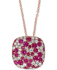"EFFY® Certified Ruby (1 ct. t.w.) & Diamond (3/8 ct. t.w.) 18"" Pendant Necklace in 14k Rose Gold"