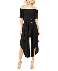 Off-The-Shoulder Belted Jumpsuit
