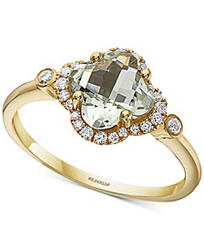 EFFY® Green Amethyst (1-1/4 ct. t.w.) & Diamond (1/6 ct. t.w.) Statement Ring in 14k Gold