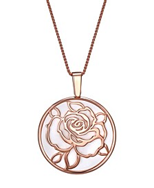 """Magnifying Glass & Mirror Pendant Rose-Gold Tone Necklace, 38"""""""