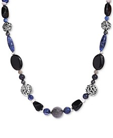 """Multi-Gemstone Beaded Statement Necklace in Sterling Silver, 19"""" + 2"""" extender"""