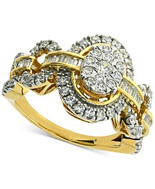 Diamond Oval Cluster Halo Engagement Ring (1 ct. t.w.) in 14k Gold & White Gold
