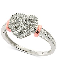 Diamond Heart Halo Ring (1/4 ct. t.w.) in 14k White & Rose Gold