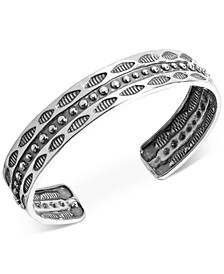 Decorative Wisdom Cuff Bracelet in Sterling Silver