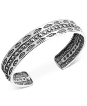 Decorative Wisdom Cuff Bracelet in Sterling Silver