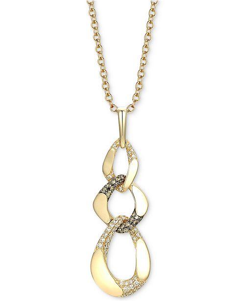 "Le Vian Diamond Chain Link 18"" Pendant Necklace (1-1/10 ct. t.w.) in 14k Gold"