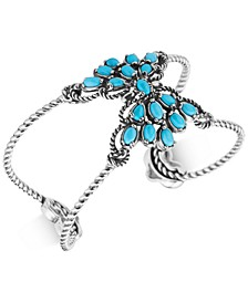 Caroly Pollack Turquoise Spray Cluster Openwork Cuff Bracelet in Sterling Silver