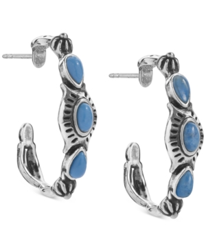 Lapis Lazuli or Turquoise Hoop Earrings in Sterling Silver