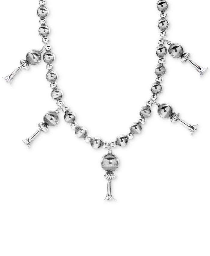 """American West - Multi-Bead Dangle Statement Necklace in Sterling Silver, 17"""" + 2"""" extender"""