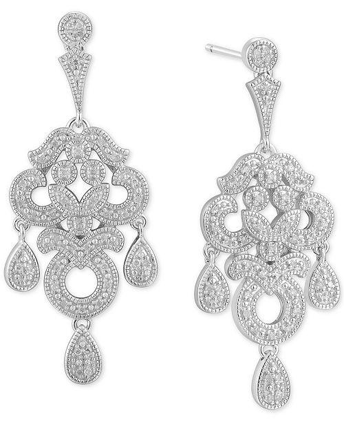 Macy's Diamond Chandelier Drop Earrings (1/4 ct. t.w.) in Sterling Silver