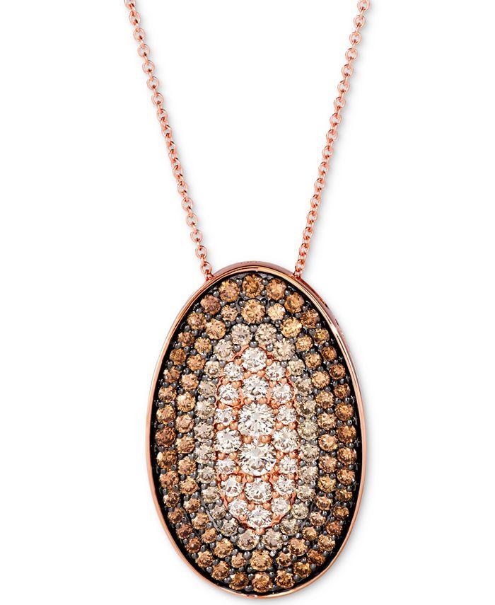 "Le Vian - Chocolate Diamond Ombré Oval 18"" Pendant Necklace (2-1/4 ct. t.w.) in 14k Rose Gold"
