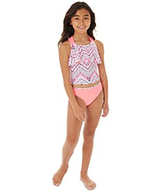 Big Girls 2-Pc. Printed Flounce Tankini Swim Suit