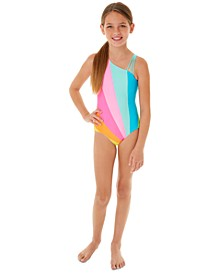 Big Girls 1-Pc. Rainbow One-Shoulder Swim Suit