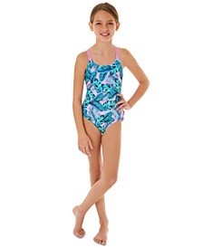 Big Girls 1-Pc. Tropical-Print Swim Suit