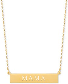 Mama Adjustable Engraved Bar Pendant Necklace in 14k Gold-Plated Sterling Silver