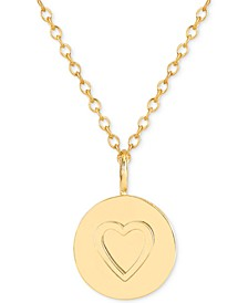 Raised Heart Medallion Adjustable Pendant Necklace in 14k Gold-Plated Sterling Silver