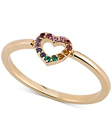 Multi-Gemstone Heart Ring in 14k Gold-Plated Sterling Silver