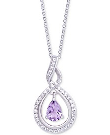 "Amethyst (1/2 ct. t.w.) & Diamond (1/20 ct. t.w.) Orbital 18"" Pendant Necklace in Sterling Silver"