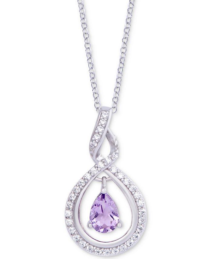 """Macy's - Amethyst (1/2 ct. t.w.) & Diamond (1/20 ct. t.w.) Orbital 18"""" Pendant Necklace in Sterling Silver"""