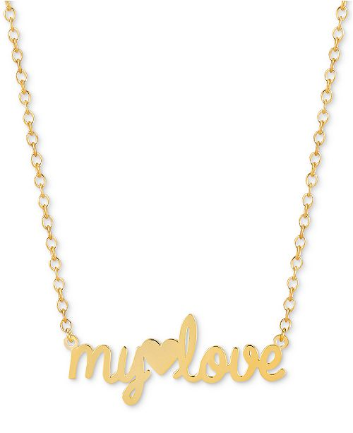 """Sarah Chloe My Love 16""""-18"""" Pendant Necklace in 14k Gold Over Sterling Silver"""