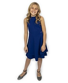 Big Girls Mock Neck Illusion Double Skirt Dress