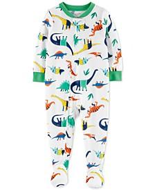 Baby Boys Cotton 1-Pc. Dino-Print Footed Pajama