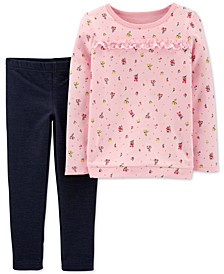 Toddler Girls 2-Pc. Floral-Print French Terry Top & Jeggings Set