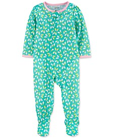 Baby Girls 1-Pc. Butterfly-Print Footie Pajama